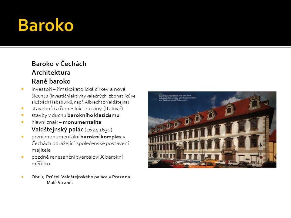 Baroko v Čechách Architektura Rané baroko  investoři – římskokatolická církev a nová šlechta (investiční aktivity válečných zbohatlíků ve službách Ha