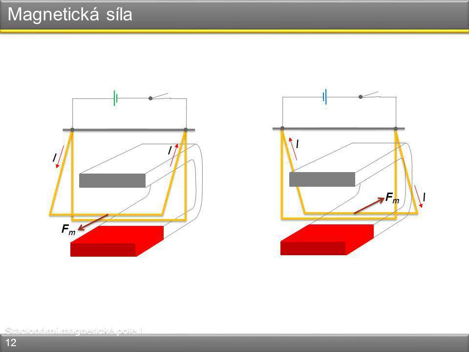 Magnetická síla Stacionární magnetické pole I 12 I I FmFm I I FmFm