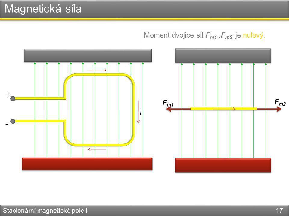 Magnetická síla Stacionární magnetické pole I 17 + - F m1 F m2 I Moment dvojice sil F m1,F m2 je nulový.