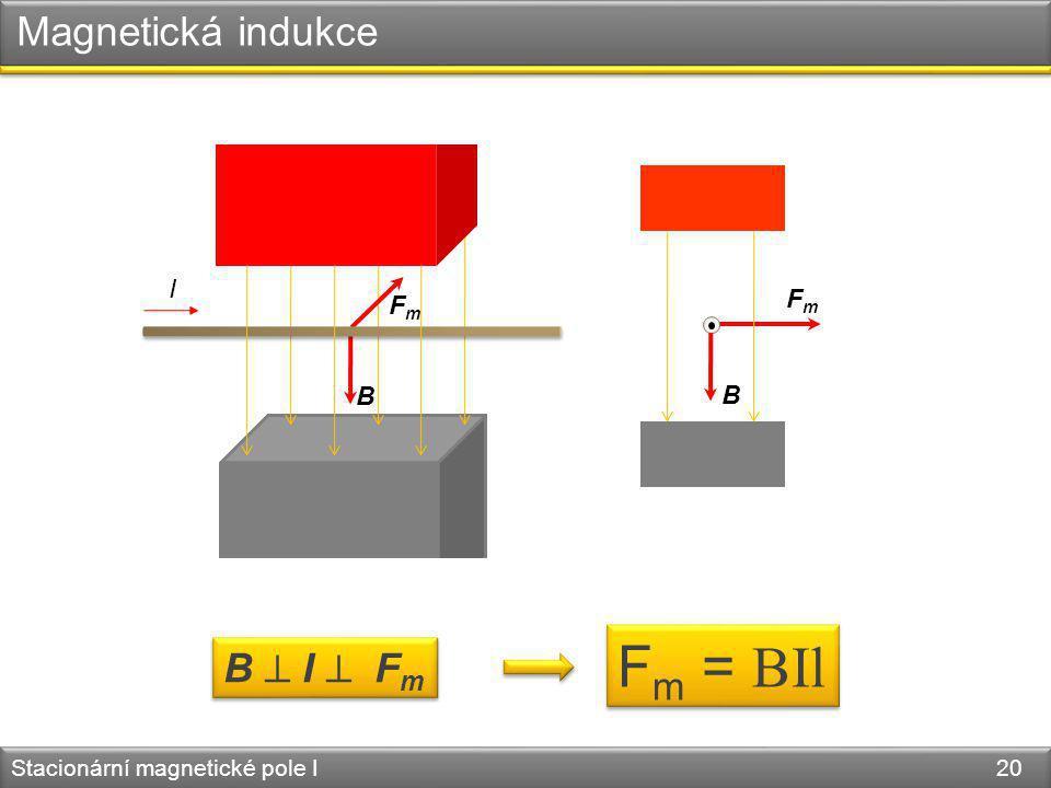B FmFm Stacionární magnetické pole I 20 B FmFm B  I  F m F m = BIl Magnetická indukce I