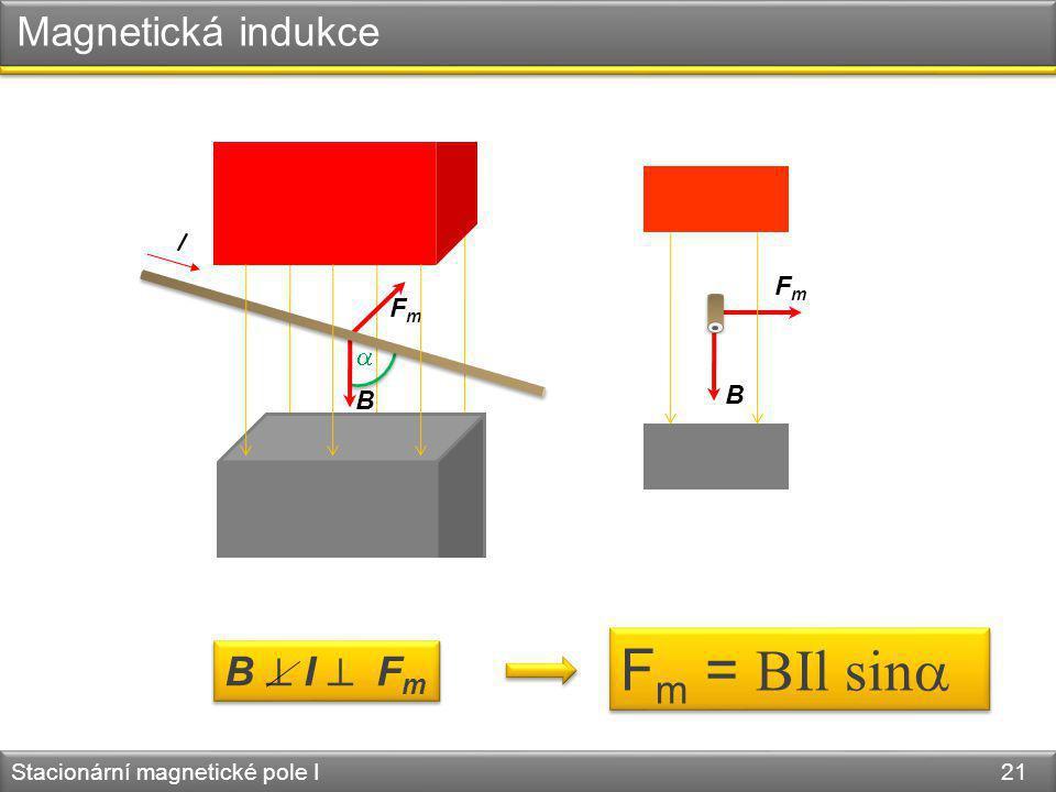 B FmFm Stacionární magnetické pole I 21 B Magnetická indukce  FmFm B  I  F m F m = BIl sin  I