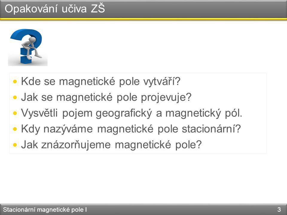 Magnetická síla Stacionární magnetické pole I 14 + - F m1 F m2 I