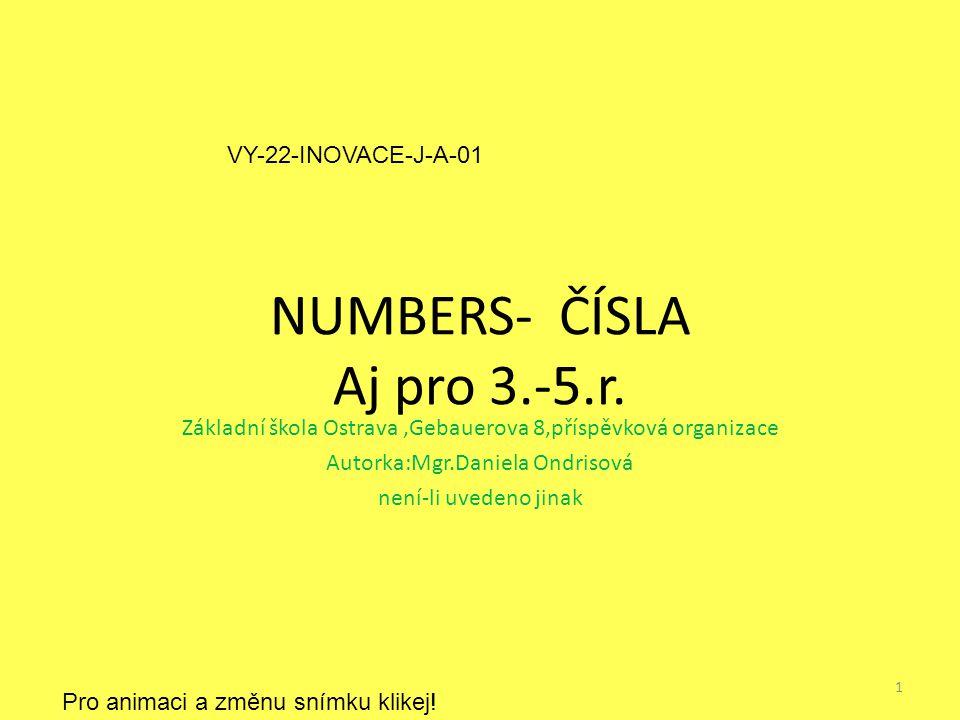 NUMBERS- ČÍSLA Aj pro 3.-5.r.