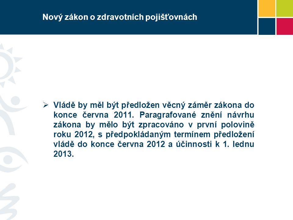 Nový zákon o zdravotních pojišťovnách  Vládě by měl být předložen věcný záměr zákona do konce června 2011.
