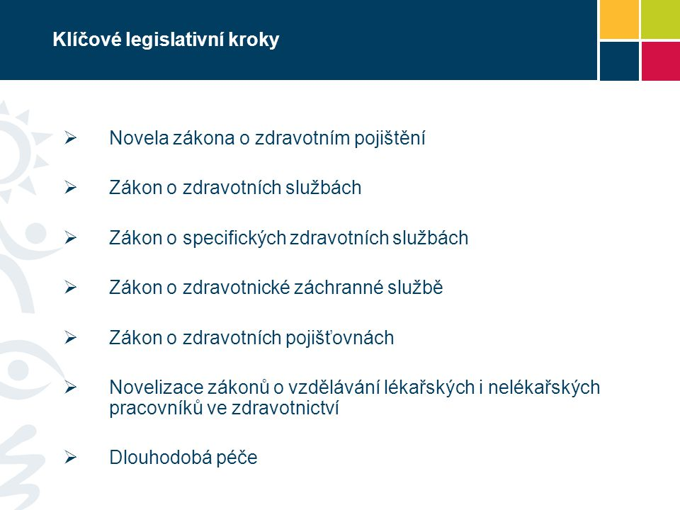Klíčové legislativní kroky  Novela zákona o zdravotním pojištění  Zákon o zdravotních službách  Zákon o specifických zdravotních službách  Zákon o zdravotnické záchranné službě  Zákon o zdravotních pojišťovnách  Novelizace zákonů o vzdělávání lékařských i nelékařských pracovníků ve zdravotnictví  Dlouhodobá péče