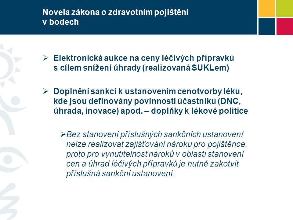Novela zákona o zdravotním pojištění v bodech  Elektronická aukce na ceny léčivých přípravků s cílem snížení úhrady (realizovaná SUKLem)  Doplnění sankcí k ustanovením cenotvorby léků, kde jsou definovány povinnosti účastníků (DNC, úhrada, inovace) apod.