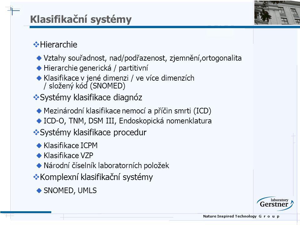 Nature Inspired Technology G r o u p Klasifikační systémy  Hierarchie  Vztahy souřadnost, nad/podřazenost, zjemnění,ortogonalita  Hierarchie generická / partitivní  Klasifikace v jené dimenzi / ve více dimenzích / složený kód (SNOMED)  Systémy klasifikace diagnóz  Mezinárodní klasifikace nemocí a příčin smrti (ICD)  ICD-O, TNM, DSM III, Endoskopická nomenklatura  Systémy klasifikace procedur  Klasifikace ICPM  Klasifikace VZP  Národní číselník laboratorních položek  Komplexní klasifikační systémy  SNOMED, UMLS
