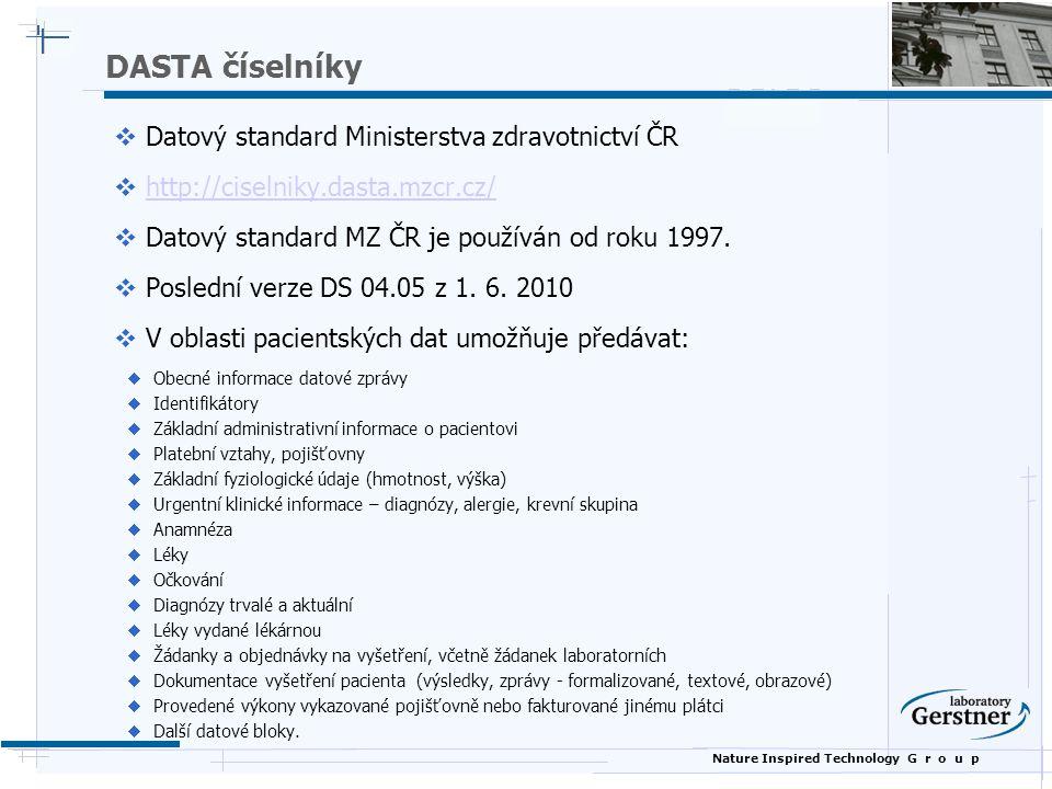 Nature Inspired Technology G r o u p DASTA číselníky  Datový standard Ministerstva zdravotnictví ČR  http://ciselniky.dasta.mzcr.cz/http://ciselniky