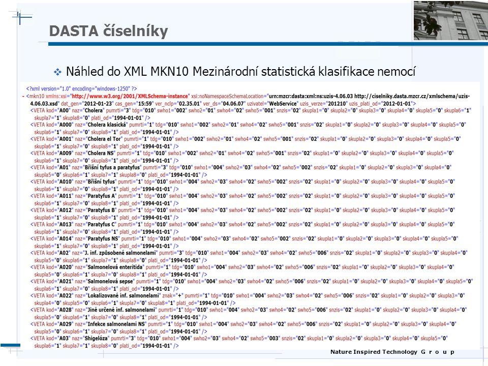 Nature Inspired Technology G r o u p DASTA číselníky  Náhled do XML MKN10 Mezinárodní statistická klasifikace nemocí