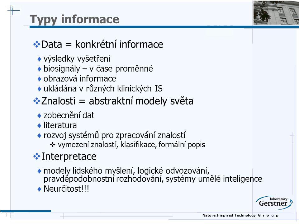 Nature Inspired Technology G r o u p Typy informace  Data = konkrétní informace  výsledky vyšetření  biosignály – v čase proměnné  obrazová inform