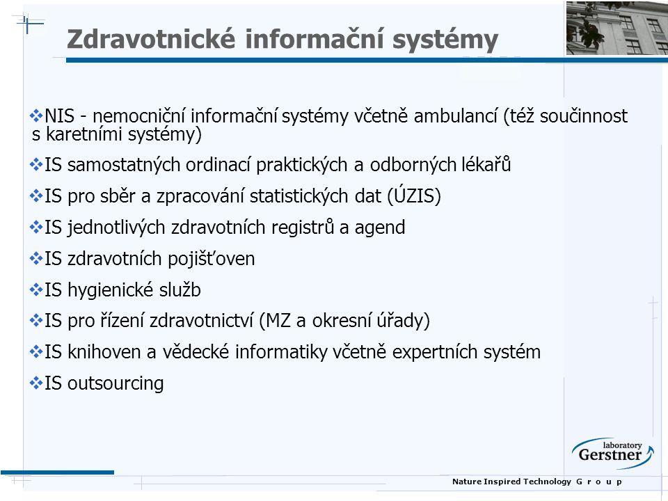 Nature Inspired Technology G r o u p Zdravotnické informační systémy  NIS - nemocniční informační systémy včetně ambulancí (též součinnost s karetním