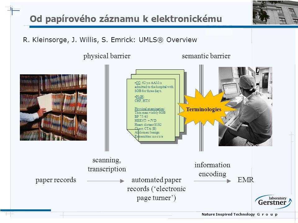 Nature Inspired Technology G r o u p EHR Definice  Elektronicky zdravotní záznam  ƒRůzná označení, varianty - EHR (Electronic Health Record), EHCR (Electronic Health Care Record), EPR (Electronic Patient Record), CPR (Computerized Patient Record), EMR (Electronic Medical Record).
