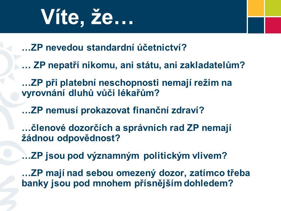 Víte, že… …ZP nevedou standardní účetnictví? … ZP nepatří nikomu, ani státu, ani zakladatelům? …ZP při platební neschopnosti nemají režim na vyrovnání