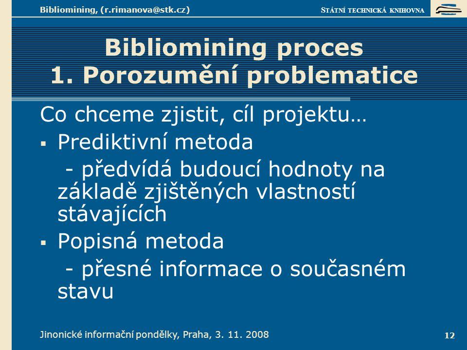 S TÁTNÍ TECHNICKÁ KNIHOVNA Jinonické informační pondělky, Praha, 3. 11. 2008 Bibliomining, (r.rimanova@stk.cz) 12 Bibliomining proces 1. Porozumění pr