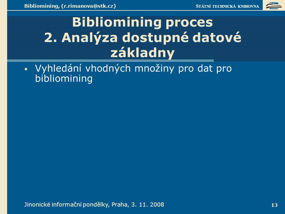 S TÁTNÍ TECHNICKÁ KNIHOVNA Jinonické informační pondělky, Praha, 3. 11. 2008 Bibliomining, (r.rimanova@stk.cz) 13 Bibliomining proces 2. Analýza dostu