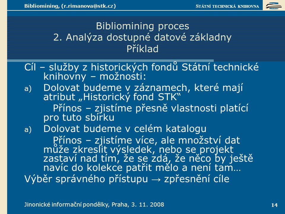 S TÁTNÍ TECHNICKÁ KNIHOVNA Jinonické informační pondělky, Praha, 3. 11. 2008 Bibliomining, (r.rimanova@stk.cz) 14 Bibliomining proces 2. Analýza dostu