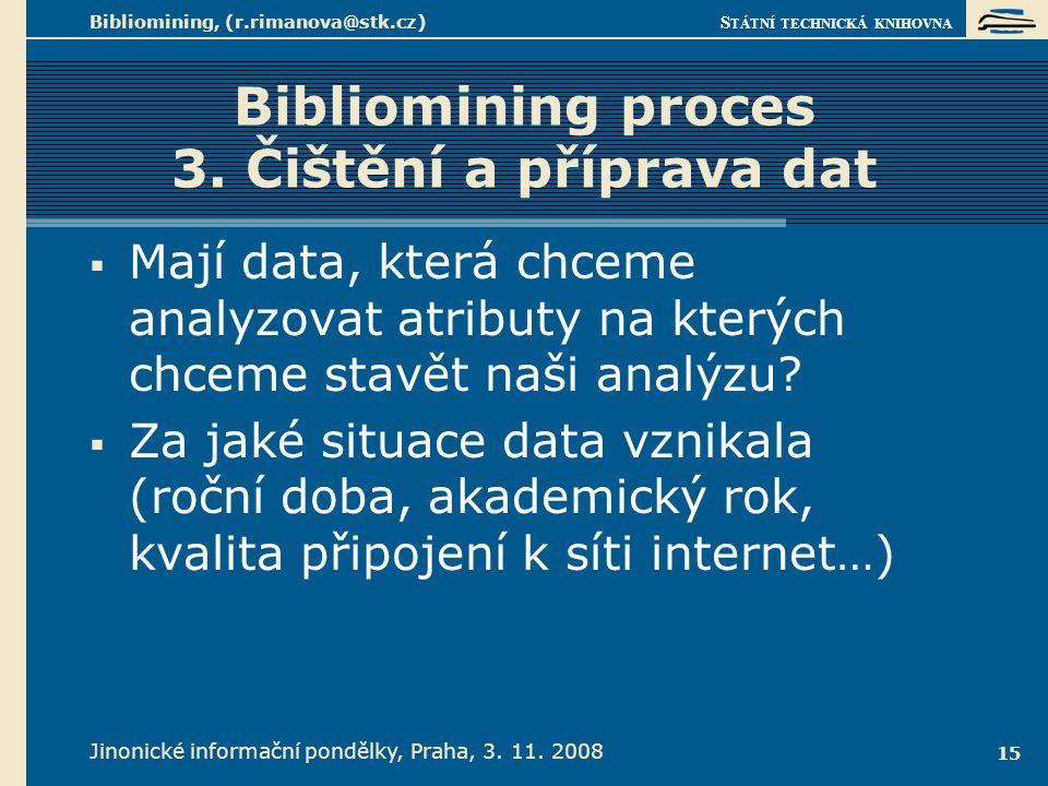 S TÁTNÍ TECHNICKÁ KNIHOVNA Jinonické informační pondělky, Praha, 3. 11. 2008 Bibliomining, (r.rimanova@stk.cz) 15 Bibliomining proces 3. Čištění a pří