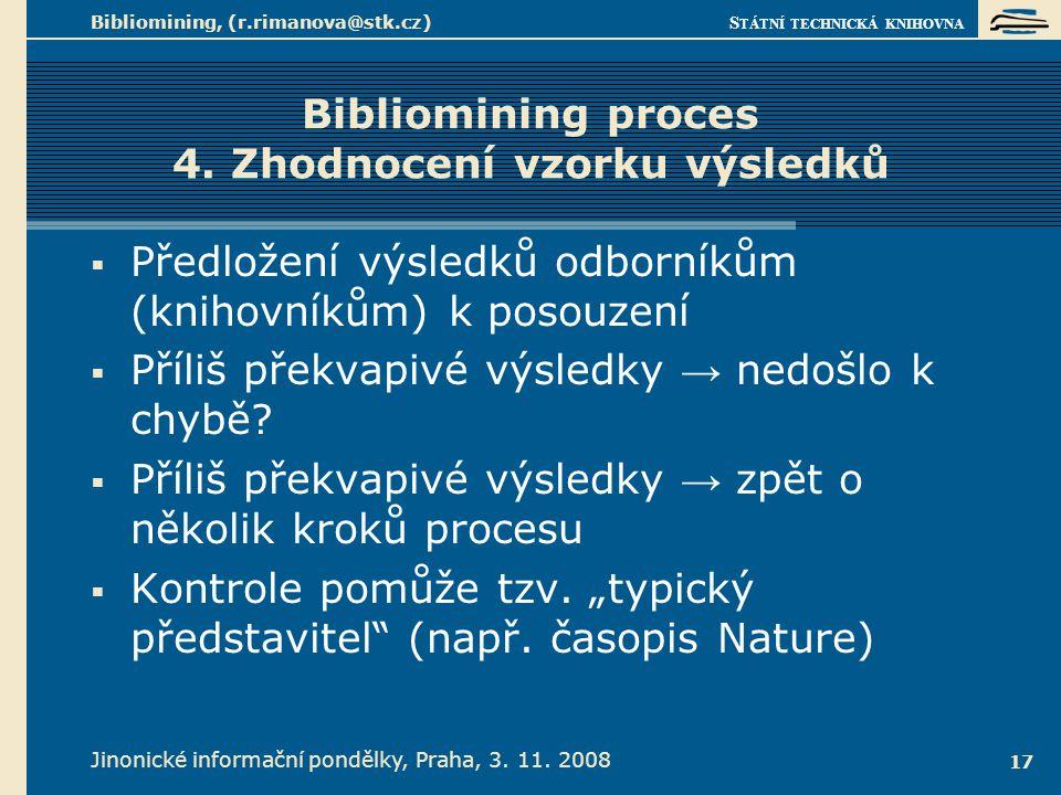 S TÁTNÍ TECHNICKÁ KNIHOVNA Jinonické informační pondělky, Praha, 3. 11. 2008 Bibliomining, (r.rimanova@stk.cz) 17 Bibliomining proces 4. Zhodnocení vz