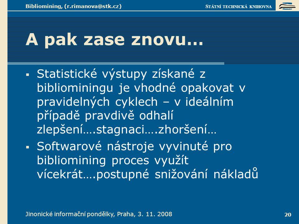 S TÁTNÍ TECHNICKÁ KNIHOVNA Jinonické informační pondělky, Praha, 3. 11. 2008 Bibliomining, (r.rimanova@stk.cz) 20 A pak zase znovu…  Statistické výst