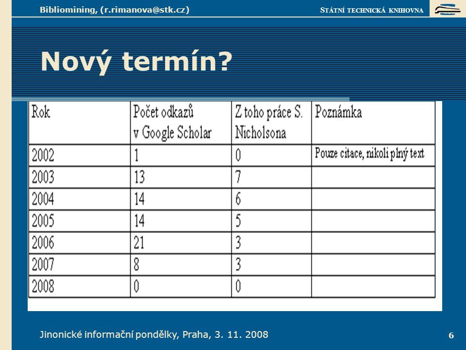 S TÁTNÍ TECHNICKÁ KNIHOVNA Jinonické informační pondělky, Praha, 3. 11. 2008 Bibliomining, (r.rimanova@stk.cz) 6 Nový termín?