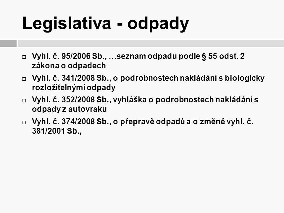 Legislativa - odpady  Vyhl. č. 95/2006 Sb., …seznam odpadů podle § 55 odst. 2 zákona o odpadech  Vyhl. č. 341/2008 Sb., o podrobnostech nakládání s
