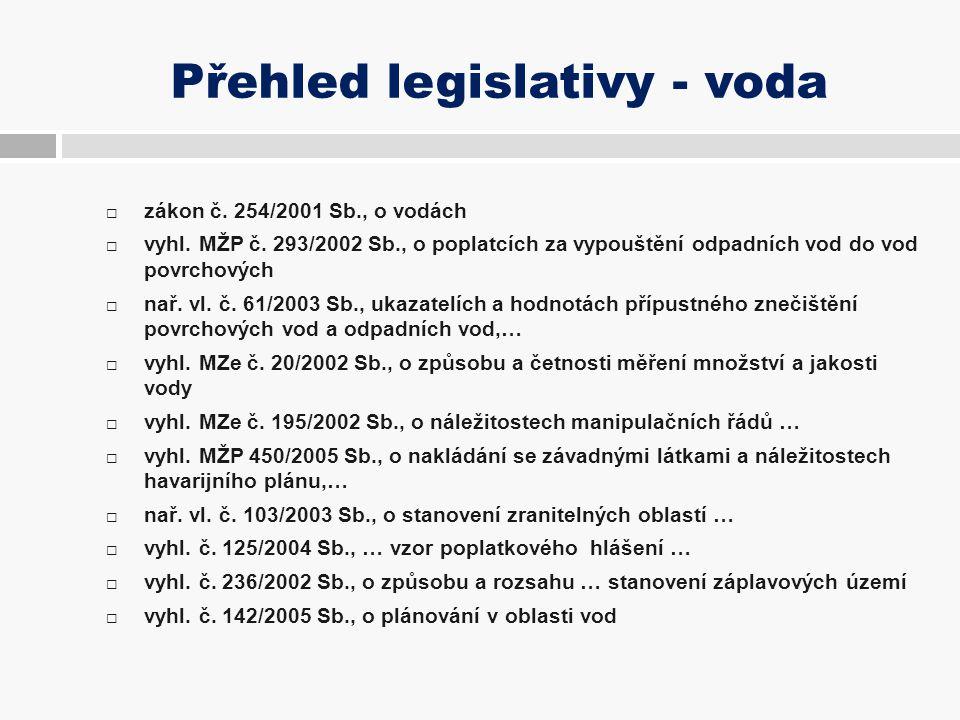 Přehled legislativy - voda  zákon č. 254/2001 Sb., o vodách  vyhl. MŽP č. 293/2002 Sb., o poplatcích za vypouštění odpadních vod do vod povrchových