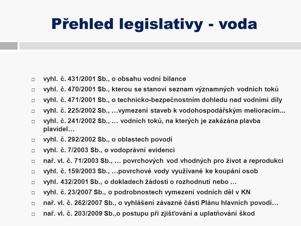 Přehled legislativy - voda  vyhl. č. 431/2001 Sb., o obsahu vodní bilance  vyhl. č. 470/2001 Sb., kterou se stanoví seznam významných vodních toků 