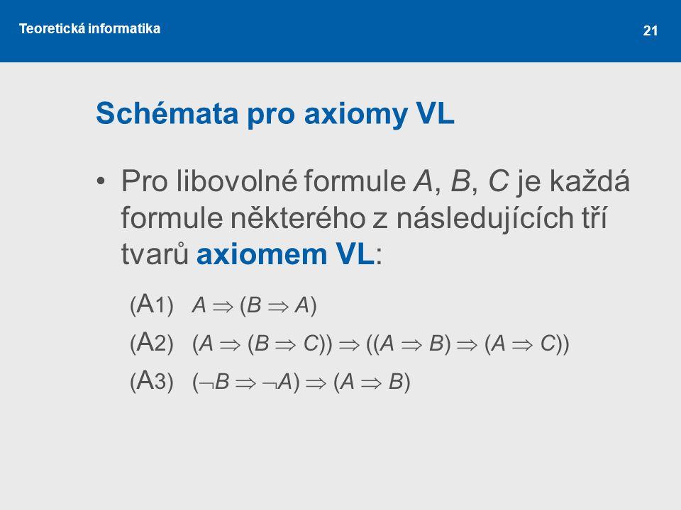 Teoretická informatika 21 Schémata pro axiomy VL Pro libovolné formule A, B, C je každá formule některého z následujících tří tvarů axiomem VL: ( A 1) A  (B  A) ( A 2) (A  (B  C))  ((A  B)  (A  C)) ( A 3) (  B   A)  (A  B)