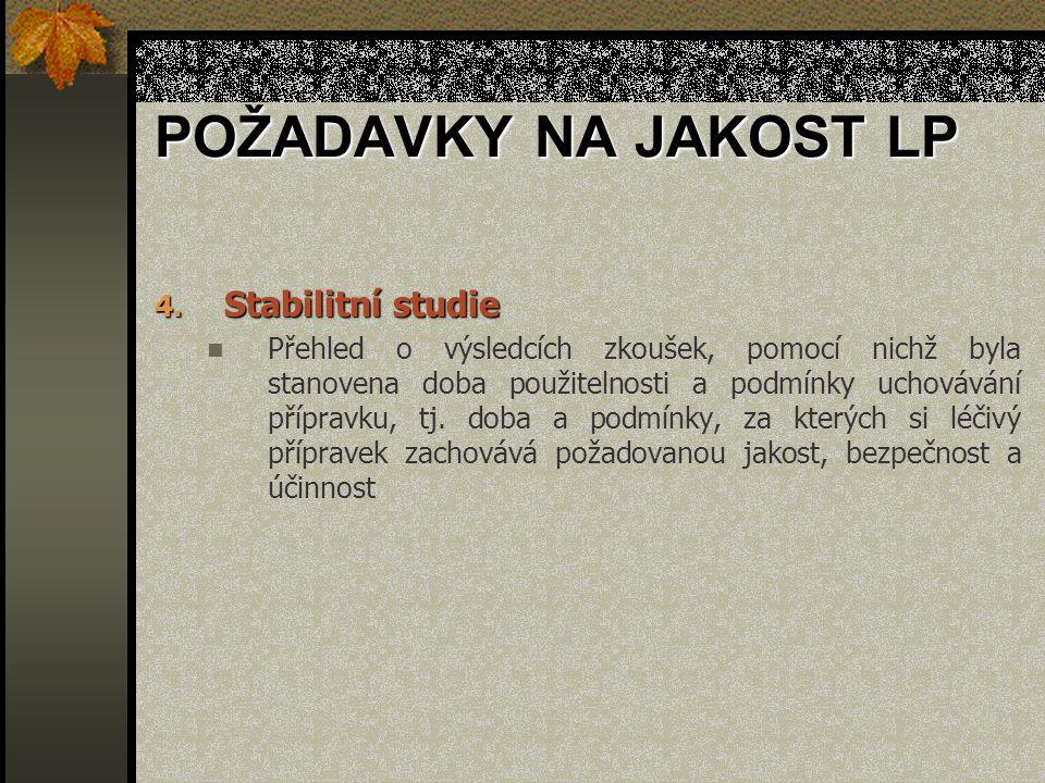 POŽADAVKY NA JAKOST LP 4. Stabilitní studie Přehled o výsledcích zkoušek, pomocí nichž byla stanovena doba použitelnosti a podmínky uchovávání příprav