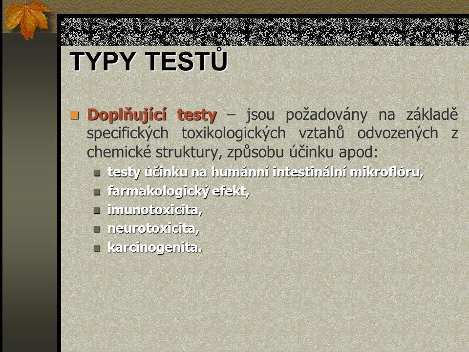 TYPY TESTŮ Doplňující testy Doplňující testy – jsou požadovány na základě specifických toxikologických vztahů odvozených z chemické struktury, způsobu