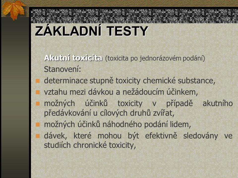 ZÁKLADNÍ TESTY Akutní toxicita Akutní toxicita (toxicita po jednorázovém podání) Stanovení: determinace stupně toxicity chemické substance, vztahu mez