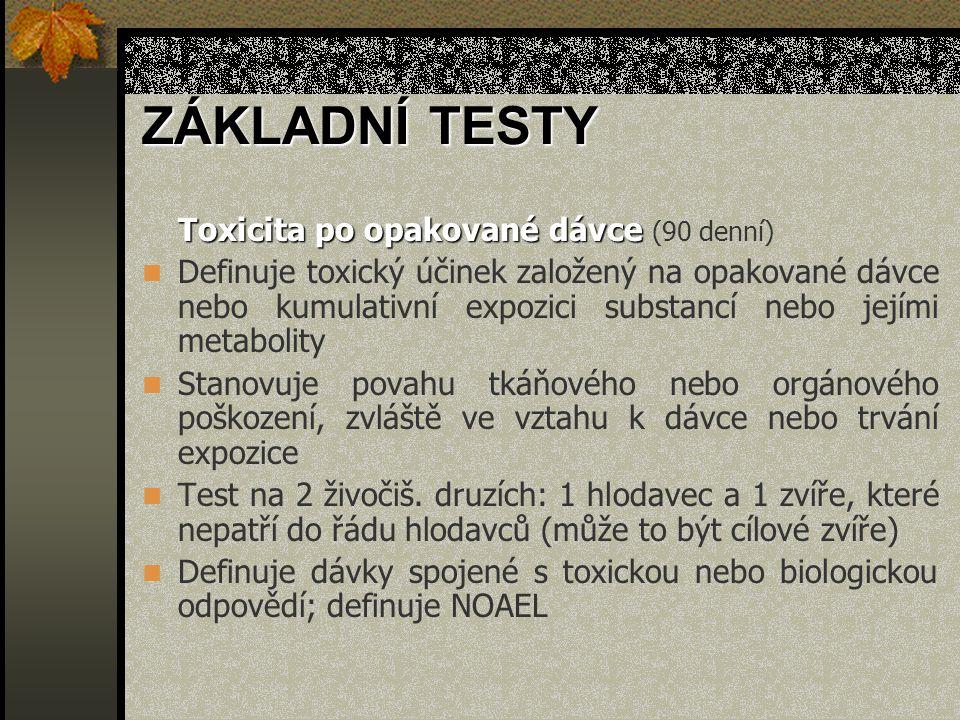 Toxicita po opakované dávce Toxicita po opakované dávce (90 denní) Definuje toxický účinek založený na opakované dávce nebo kumulativní expozici subst