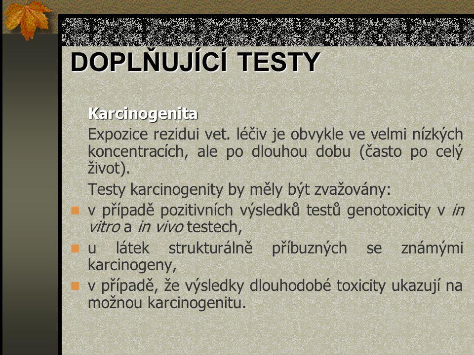 Karcinogenita Expozice rezidui vet. léčiv je obvykle ve velmi nízkých koncentracích, ale po dlouhou dobu (často po celý život). Testy karcinogenity by