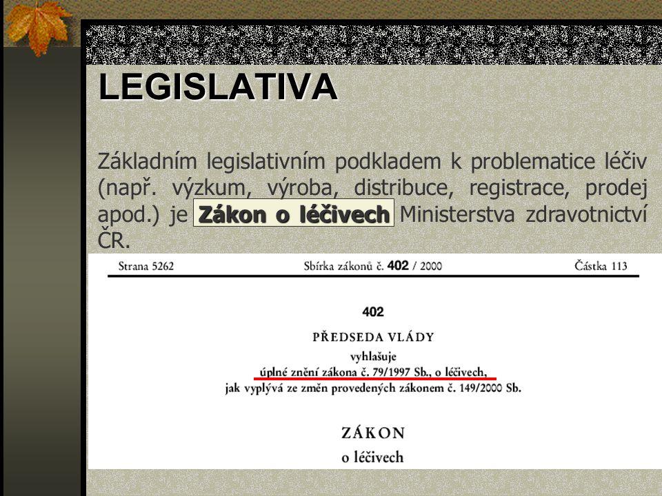 Zákon o léčivech Základním legislativním podkladem k problematice léčiv (např. výzkum, výroba, distribuce, registrace, prodej apod.) je Zákon o léčive