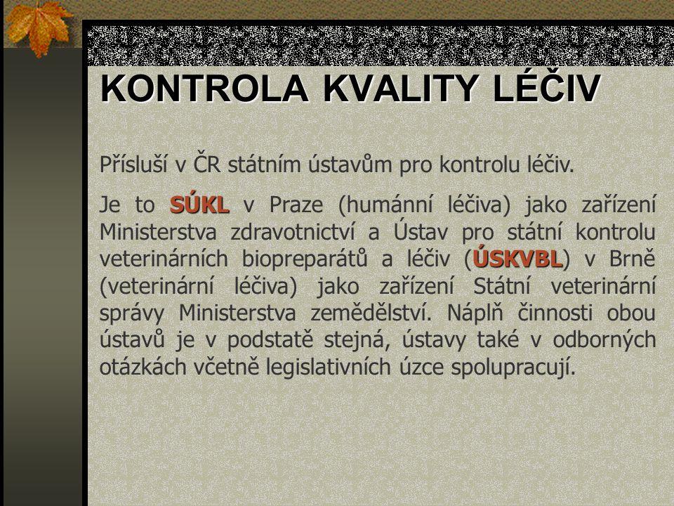 Přísluší v ČR státním ústavům pro kontrolu léčiv. SÚKL ÚSKVBL Je to SÚKL v Praze (humánní léčiva) jako zařízení Ministerstva zdravotnictví a Ústav pro