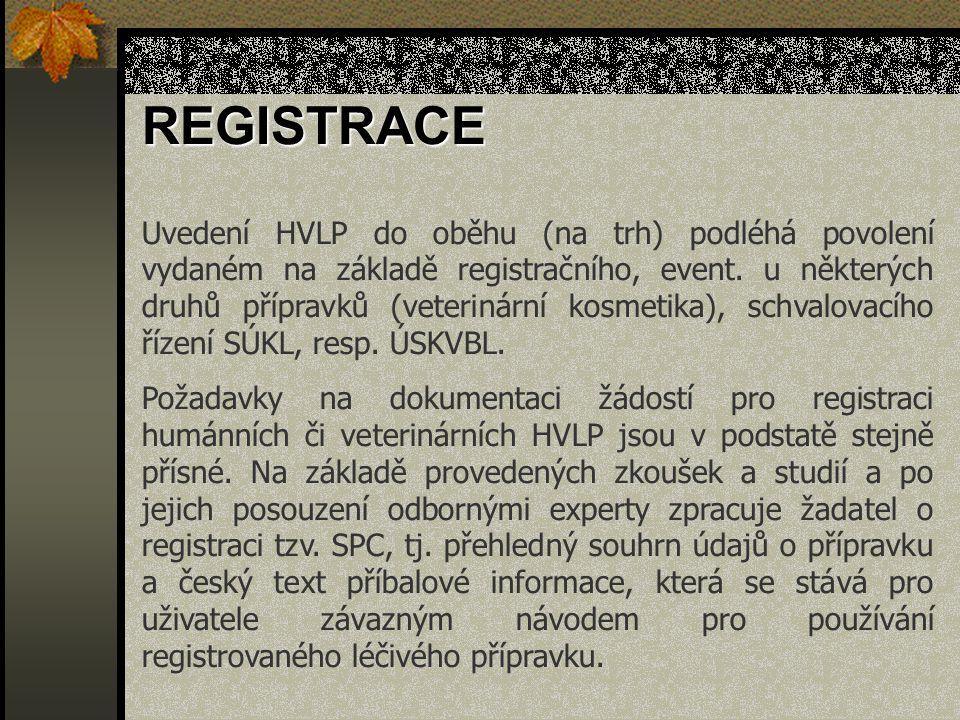 Uvedení HVLP do oběhu (na trh) podléhá povolení vydaném na základě registračního, event. u některých druhů přípravků (veterinární kosmetika), schvalov