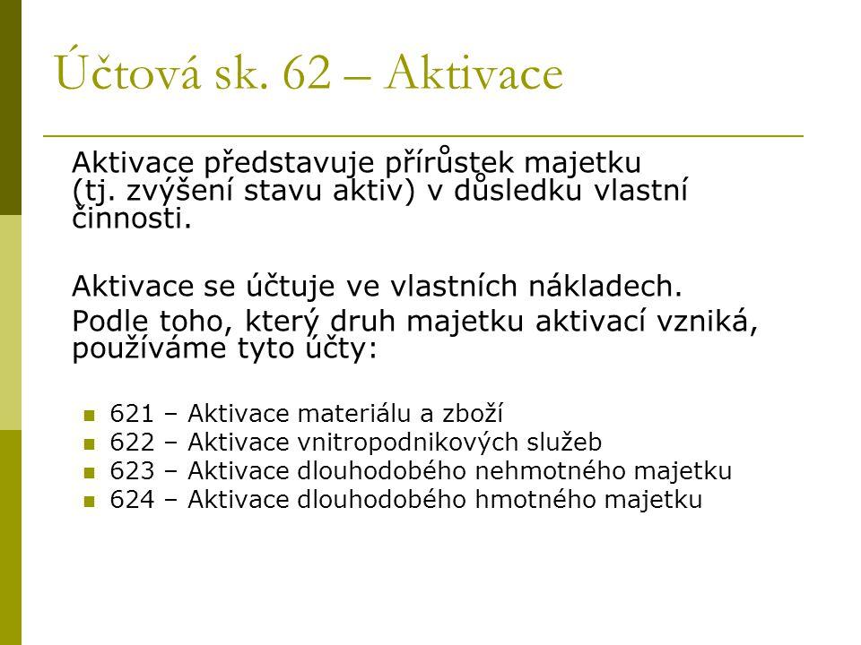 Účtová sk. 62 – Aktivace Aktivace představuje přírůstek majetku (tj.