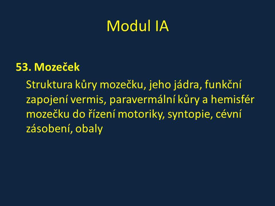 Modul IA 53. Mozeček Struktura kůry mozečku, jeho jádra, funkční zapojení vermis, paravermální kůry a hemisfér mozečku do řízení motoriky, syntopie, c