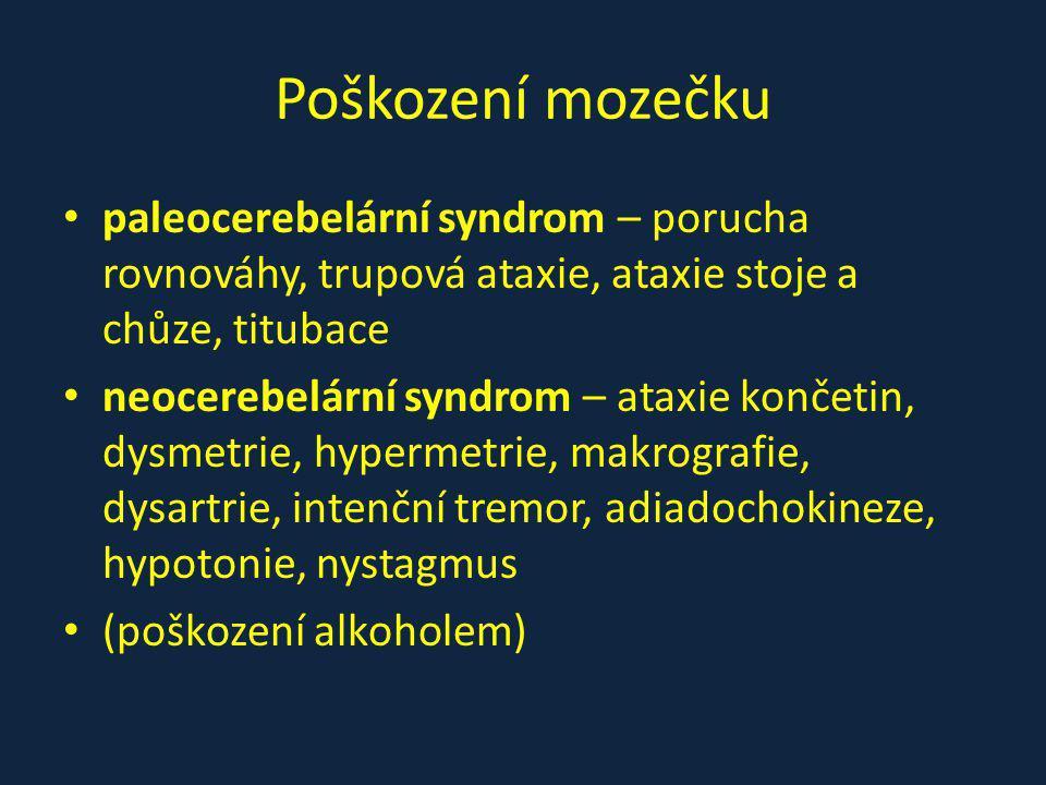 Poškození mozečku paleocerebelární syndrom – porucha rovnováhy, trupová ataxie, ataxie stoje a chůze, titubace neocerebelární syndrom – ataxie končetin, dysmetrie, hypermetrie, makrografie, dysartrie, intenční tremor, adiadochokineze, hypotonie, nystagmus (poškození alkoholem)
