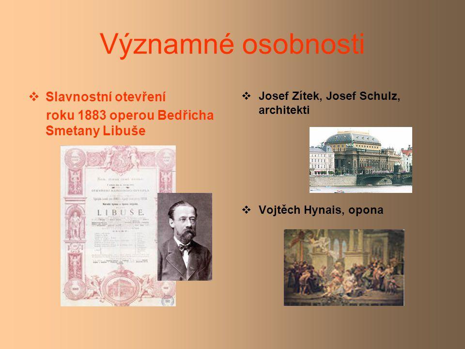 Významné osobnosti  Slavnostní otevření roku 1883 operou Bedřicha Smetany Libuše  Josef Zítek, Josef Schulz, architekti  Vojtěch Hynais, opona