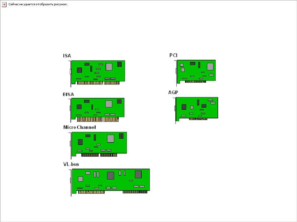 Vývoj sběrnicových systémů XT – 8-mi bitová ISA – 8/16-ti bitová, kompatibilní s XT EISA – 8/16/32-ti bitová, kompatibilní s ISA MCA – 16/32-ti bitová, nekompatibilní s ničím VL-Bus – snaha oddělit rychlá a pomalá data PCI – úspěšná, široce rozšířená rychlá sběrnice AGP – specializovaná sběrnice grafických karet PCI-Express – nová implementace PCI založená na sériové komunikaci, v současnosti nahrazuje klasickou PCI i AGP klasické pojetí sběrnice přímo svázané s procesorem moderní rychlé sběrnice nezávislé na architektuře procesoru