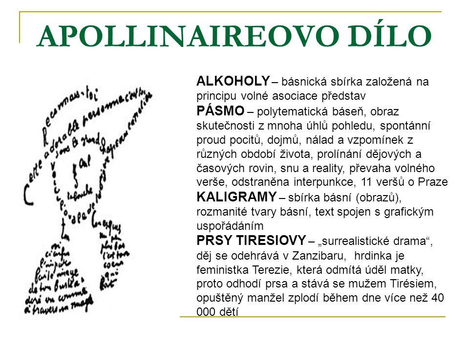 APOLLINAIREOVO DÍLO ALKOHOLY – básnická sbírka založená na principu volné asociace představ PÁSMO – polytematická báseň, obraz skutečnosti z mnoha úhl