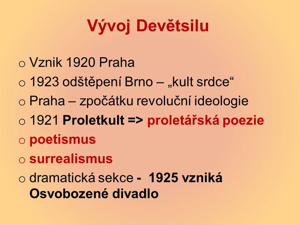 """Vývoj Devětsilu o Vznik 1920 Praha o 1923 odštěpení Brno – """"kult srdce"""" o Praha – zpočátku revoluční ideologie o 1921 Proletkult => proletářská poezie"""