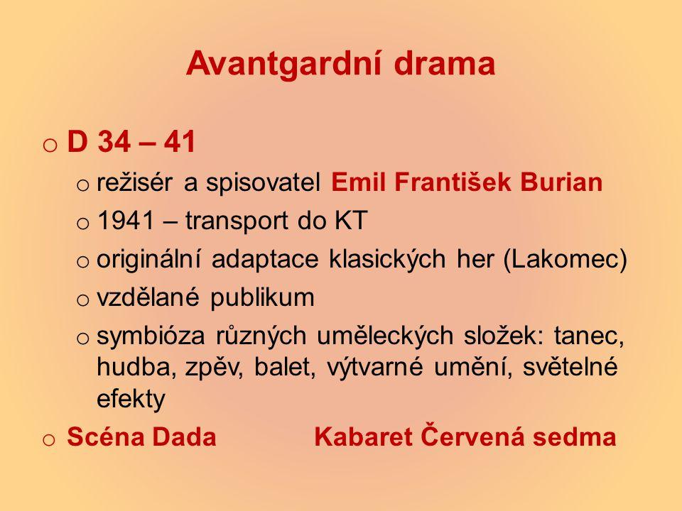 Avantgardní drama o D 34 – 41 o režisér a spisovatel Emil František Burian o 1941 – transport do KT o originální adaptace klasických her (Lakomec) o v