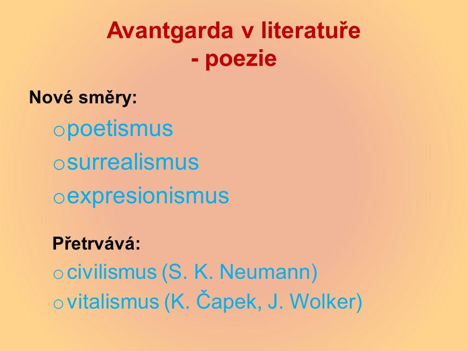 Avantgarda v literatuře - poezie Nové směry: o poetismus o surrealismus o expresionismus Přetrvává: o civilismus (S. K. Neumann) o vitalismus (K. Čape