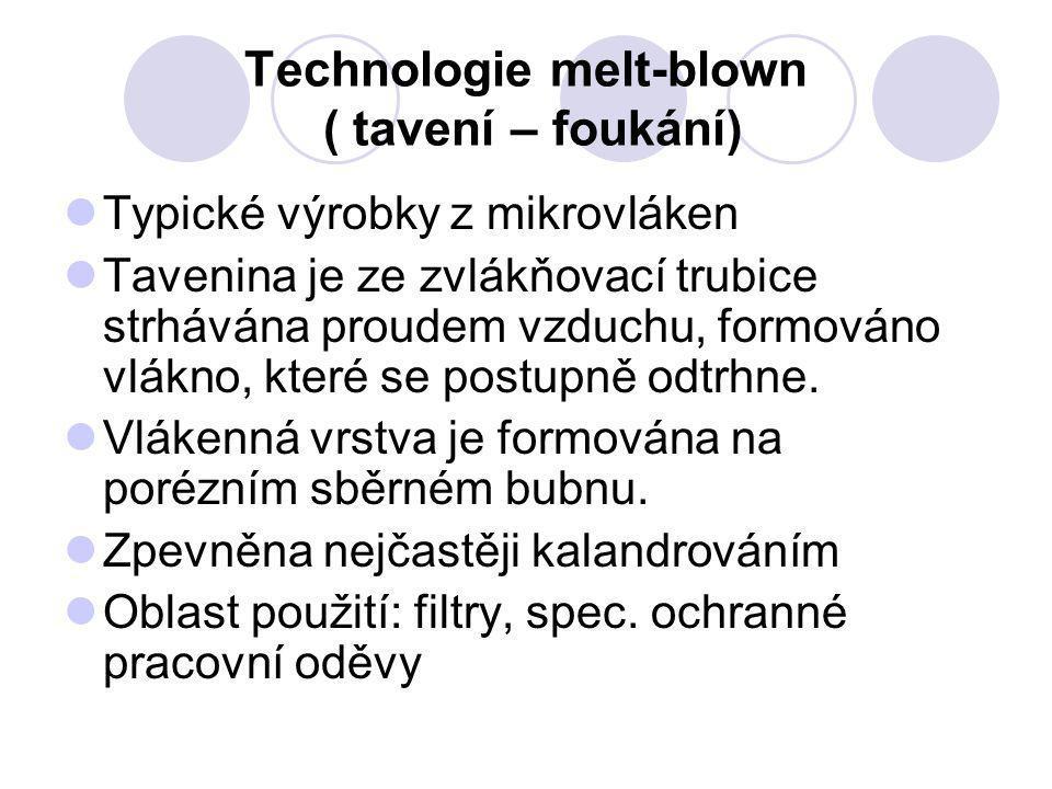Technologie melt-blown ( tavení – foukání) Typické výrobky z mikrovláken Tavenina je ze zvlákňovací trubice strhávána proudem vzduchu, formováno vlákn