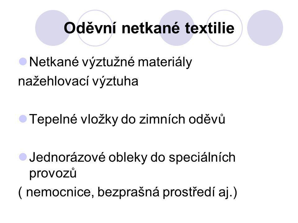 Oděvní netkané textilie Netkané výztužné materiály nažehlovací výztuha Tepelné vložky do zimních oděvů Jednorázové obleky do speciálních provozů ( nem