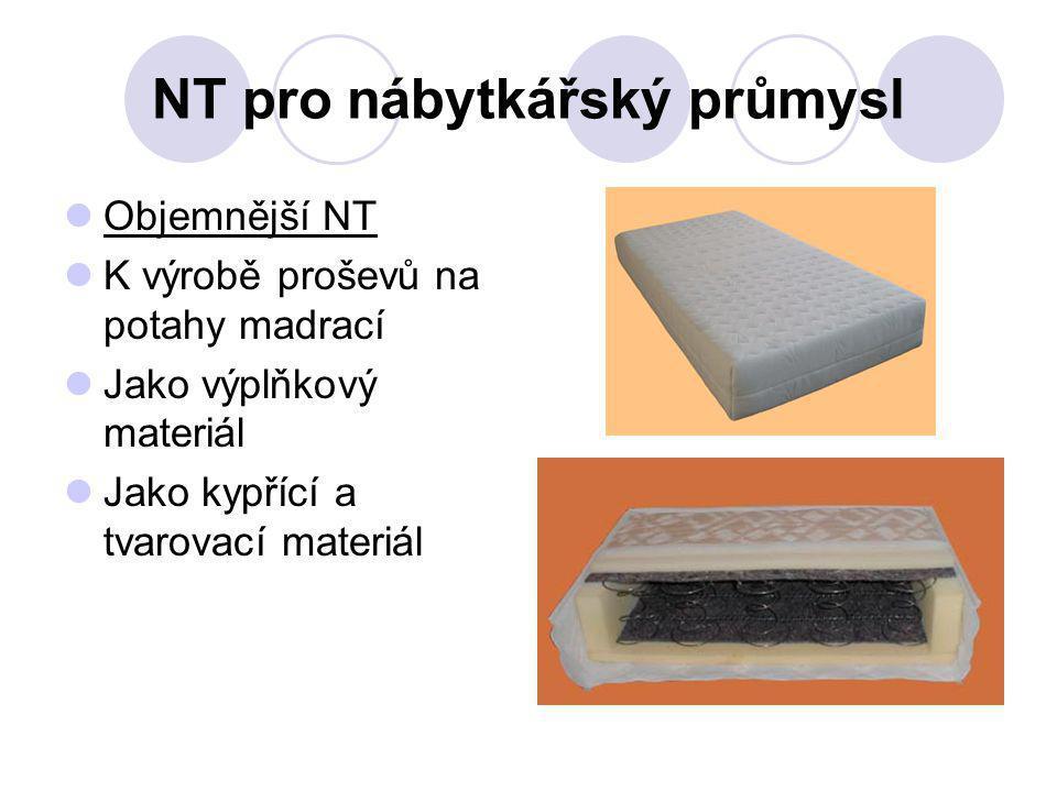 NT pro nábytkářský průmysl Objemnější NT K výrobě proševů na potahy madrací Jako výplňkový materiál Jako kypřící a tvarovací materiál