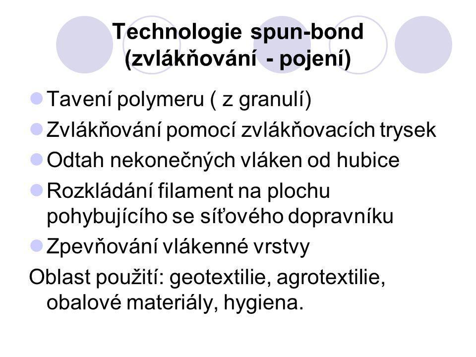 Technologie spun-bond (zvlákňování - pojení) Tavení polymeru ( z granulí) Zvlákňování pomocí zvlákňovacích trysek Odtah nekonečných vláken od hubice R