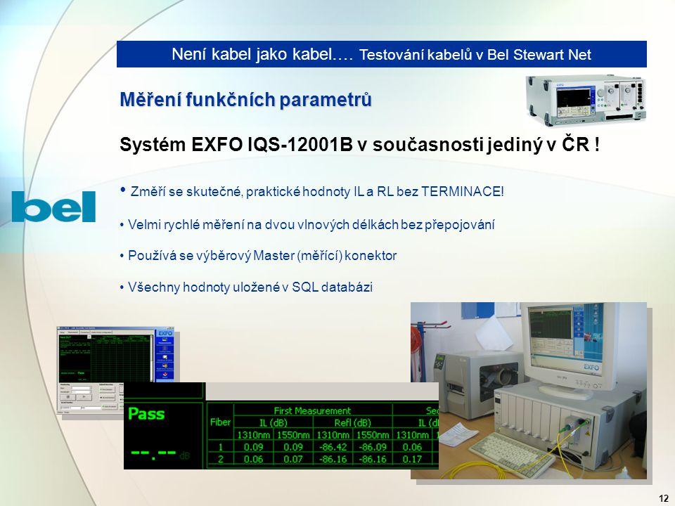 12 Není kabel jako kabel…. Testování kabelů v Bel Stewart Net Měření funkčních parametrů Systém EXFO IQS-12001B v současnosti jediný v ČR ! Změří se s